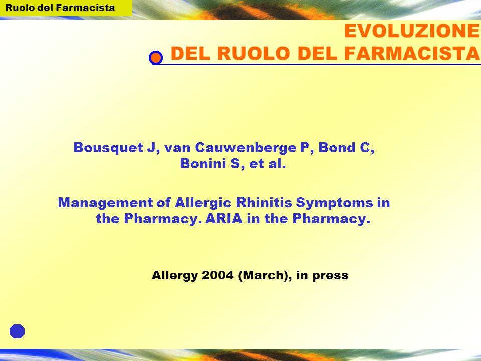 EVOLUZIONE DEL RUOLO DEL FARMACISTA Bousquet J, van Cauwenberge P, Bond C, Bonini S, et al.