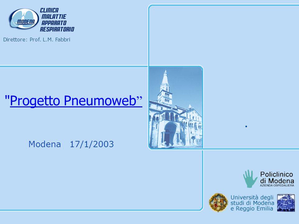 Direttore: Prof. L.M. Fabbri Modena 17/1/2003 Progetto Pneumoweb
