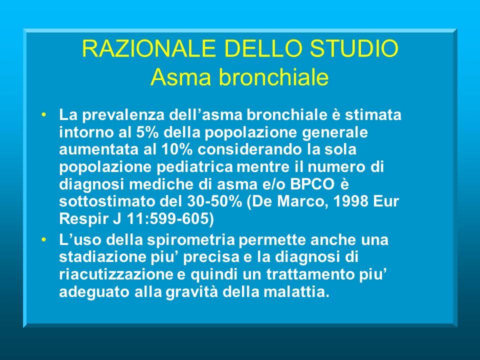 RAZIONALE DELLO STUDIO Asma bronchiale La prevalenza dellasma bronchiale è stimata intorno al 5% della popolazione generale aumentata al 10% considerando la sola popolazione pediatrica mentre il numero di diagnosi mediche di asma e/o BPCO è sottostimato del 30-50% (De Marco, 1998 Eur Respir J 11:599-605) Luso della spirometria permette anche una stadiazione piu precisa e la diagnosi di riacutizzazione e quindi un trattamento piu adeguato alla gravità della malattia.