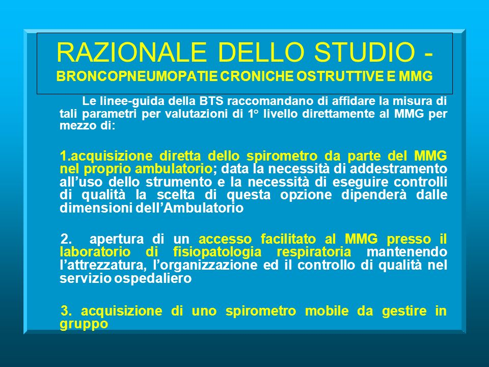 THE VEMS PILOT STUDY EFFECT OF THE IMPLEMENTATION OF SPIROMETRY AND RESPIRATORY QUESTIONNAIRE ON THE DIAGNOSIS OF ASTHMA AND CHRONIC OBSTRUCTIVE PULMONARY DISEASE (COPD) IN GENERAL PRACTICE Società Italiana di Medicina Generale (S.I.M.G.) Sezione di Ferrara Asthma and COPD Research Centre Director: Prof.
