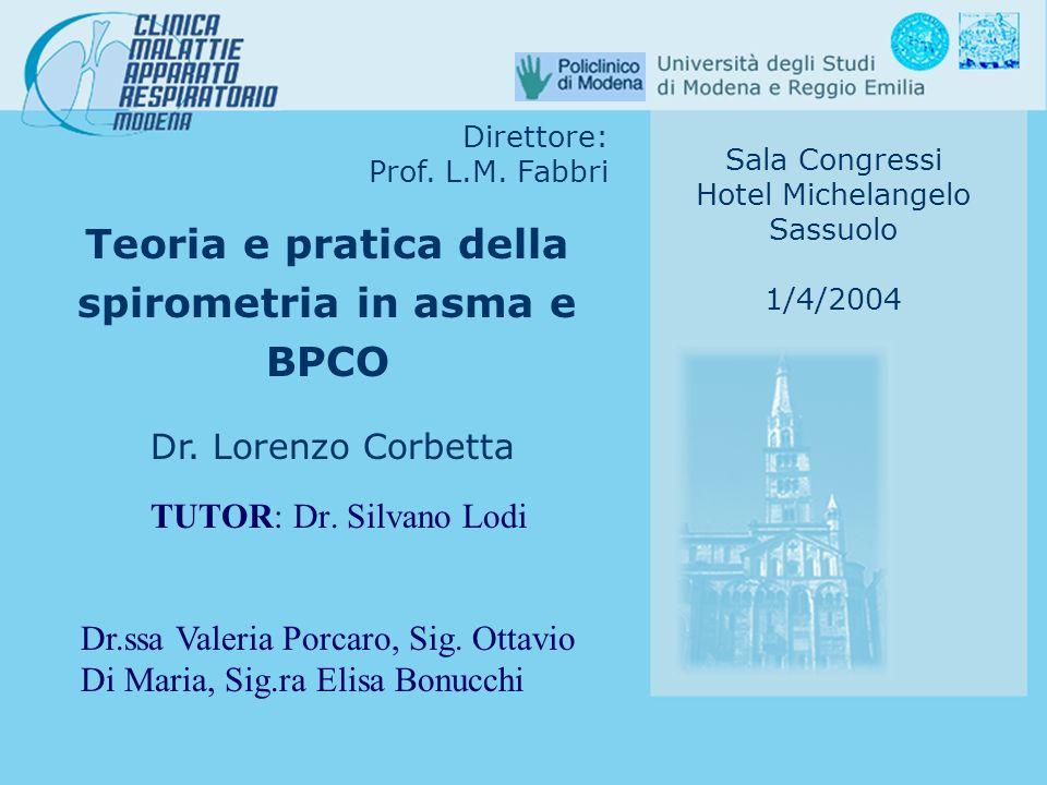 Teoria e pratica della spirometria in asma e BPCO Dr. Lorenzo Corbetta Direttore: Prof. L.M. Fabbri Sala Congressi Hotel Michelangelo Sassuolo 1/4/200