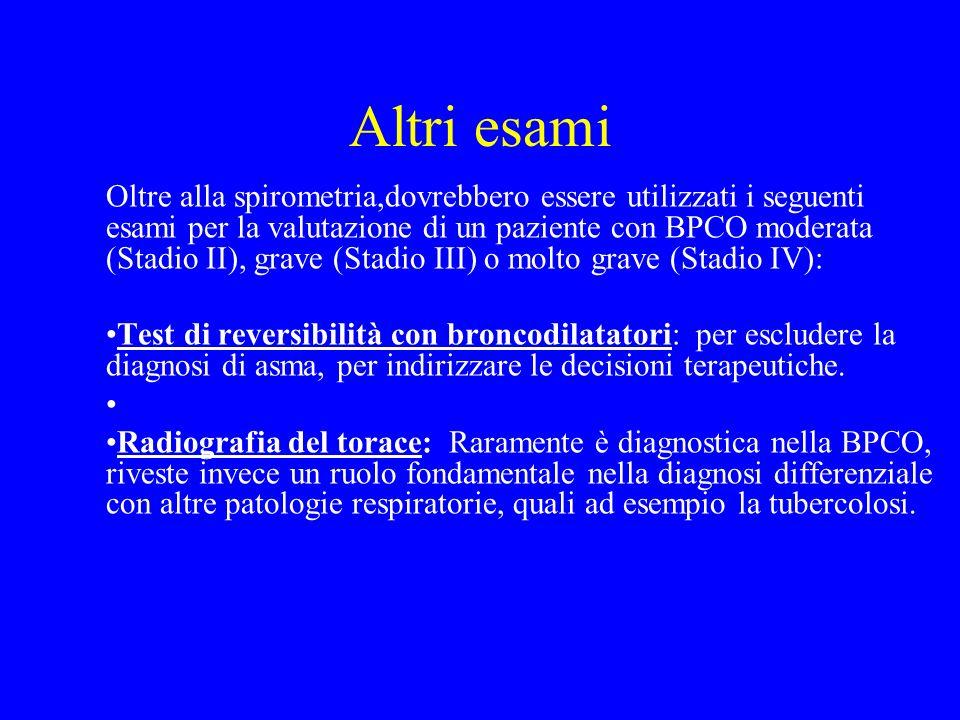 Altri esami Oltre alla spirometria,dovrebbero essere utilizzati i seguenti esami per la valutazione di un paziente con BPCO moderata (Stadio II), grav
