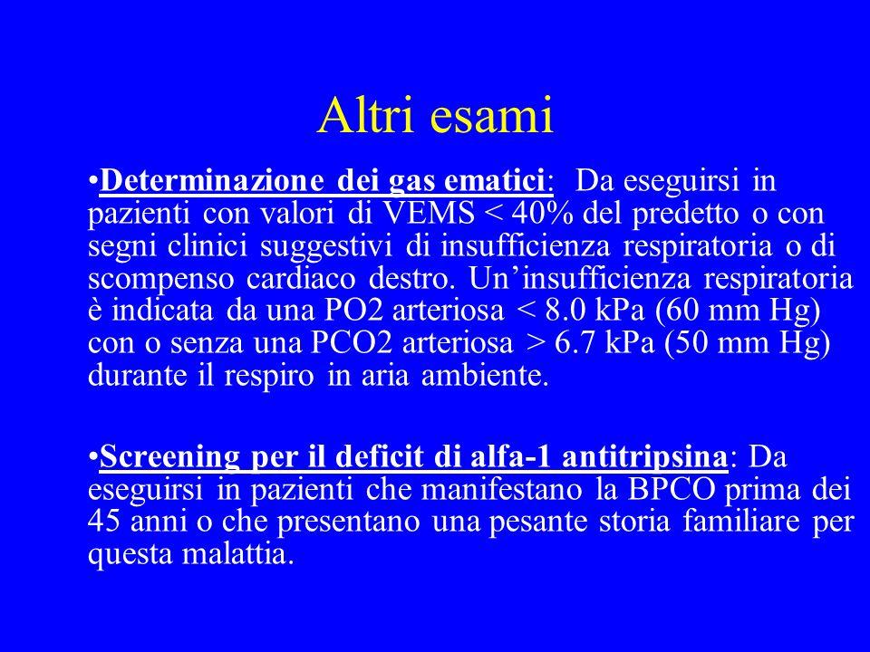 Altri esami Determinazione dei gas ematici: Da eseguirsi in pazienti con valori di VEMS 6.7 kPa (50 mm Hg) durante il respiro in aria ambiente. Screen