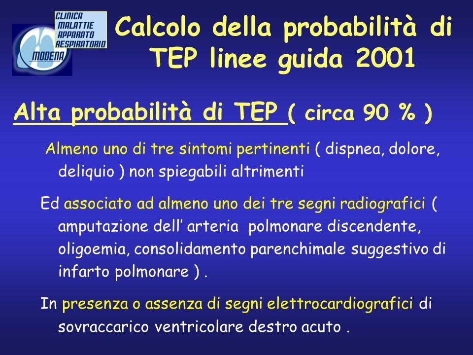 Calcolo della probabilità di TEP linee guida 2001 Almeno uno di tre sintomi pertinenti ( dispnea, dolore, deliquio ) non spiegabili altrimenti Ed asso