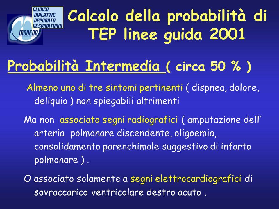 Calcolo della probabilità di TEP linee guida 2001 Almeno uno di tre sintomi pertinenti ( dispnea, dolore, deliquio ) non spiegabili altrimenti Ma non
