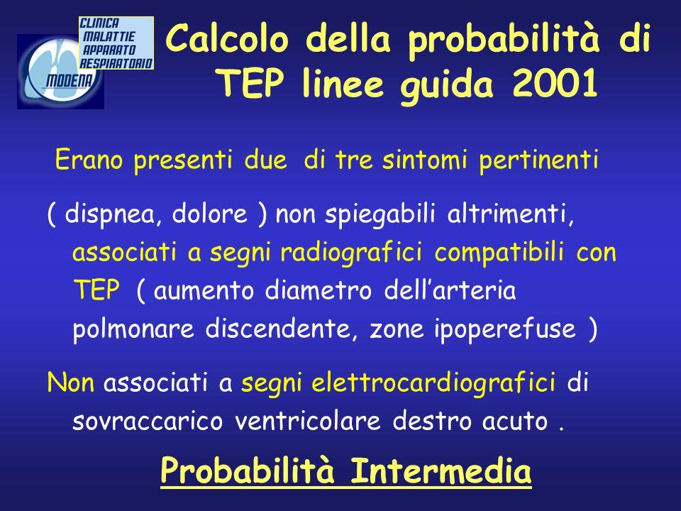 Calcolo della probabilità di TEP linee guida 2001 Erano presenti due di tre sintomi pertinenti ( dispnea, dolore ) non spiegabili altrimenti, associat