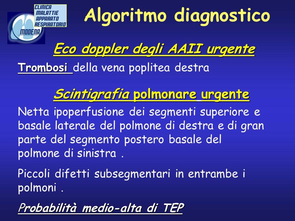 Algoritmo diagnostico Scintigrafia polmonare urgente Netta ipoperfusione dei segmenti superiore e basale laterale del polmone di destra e di gran part