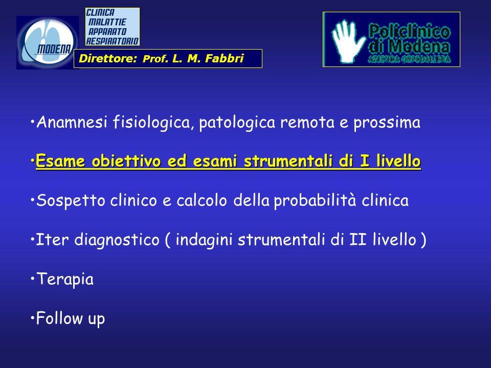 Direttore: Prof. L. M. Fabbri Anamnesi fisiologica, patologica remota e prossima Esame obiettivo ed esami strumentali di I livelloEsame obiettivo ed e