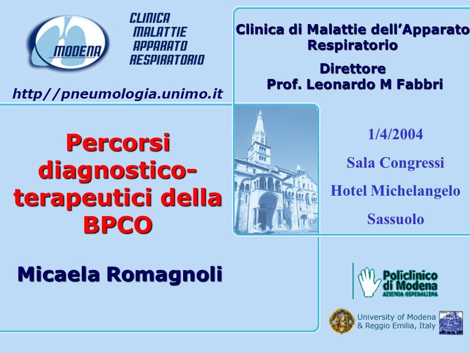 Percorsi diagnostico- terapeutici della BPCO Clinica di Malattie dellApparato Respiratorio Direttore Prof. Leonardo M Fabbri Prof. Leonardo M Fabbri h