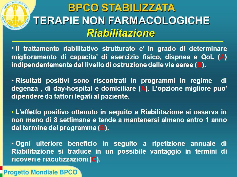 BPCO STABILIZZATA TERAPIE NON FARMACOLOGICHE Riabilitazione Il trattamento riabilitativo strutturato e in grado di determinare miglioramento di capaci
