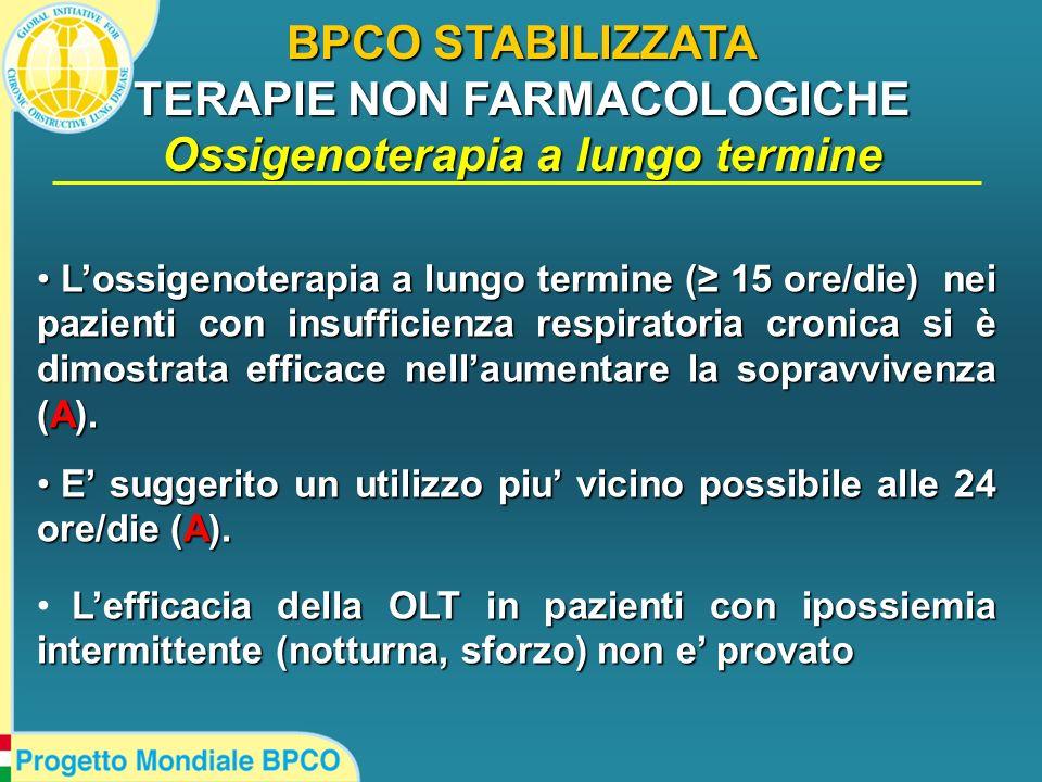 BPCO STABILIZZATA TERAPIE NON FARMACOLOGICHE Ossigenoterapia a lungo termine Lossigenoterapia a lungo termine ( 15 ore/die) nei pazienti con insuffici