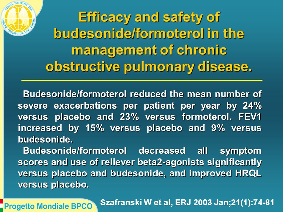Efficacy and safety of budesonide/formoterol in the management of chronic obstructive pulmonary disease. Szafranski W et al, ERJ 2003 Jan;21(1):74-81