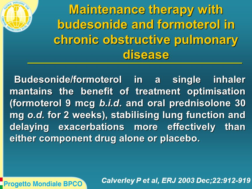 Calverley P et al, ERJ 2003 Dec;22:912-919 Maintenance therapy with budesonide and formoterol in chronic obstructive pulmonary disease Budesonide/form