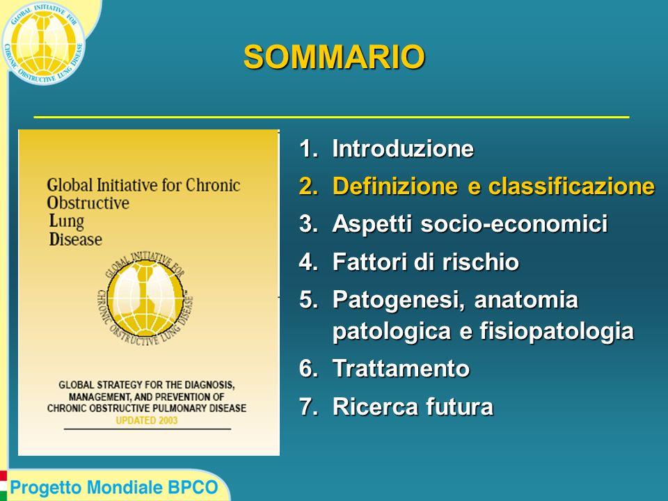 1.Introduzione 2.Definizione e classificazione 3.Aspetti socio-economici 4.Fattori di rischio 5.Patogenesi, anatomia patologica e fisiopatologia 6.Tra