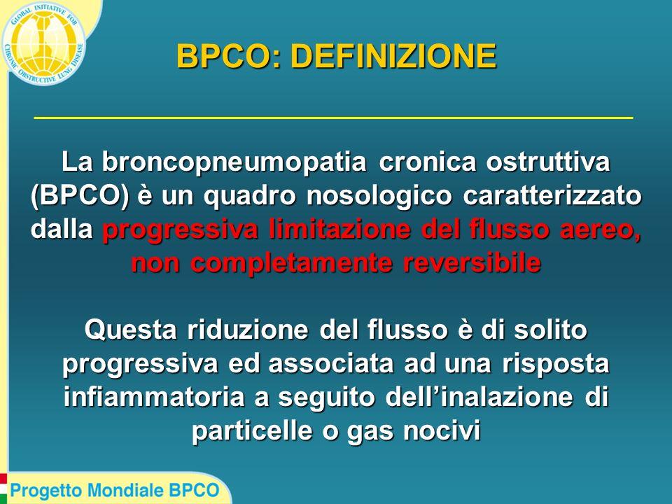 La broncopneumopatia cronica ostruttiva (BPCO) è un quadro nosologico caratterizzato dalla progressiva limitazione del flusso aereo, non completamente