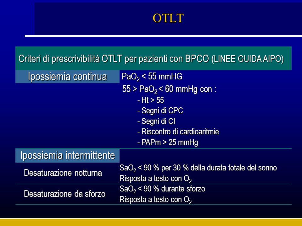 OTLT Criteri di prescrivibilità OTLT per pazienti con BPCO (LINEE GUIDA AIPO) Ipossiemia continua PaO 2 < 55 mmHG PaO 2 < 55 mmHG 55 > PaO 2 PaO 2 < 6