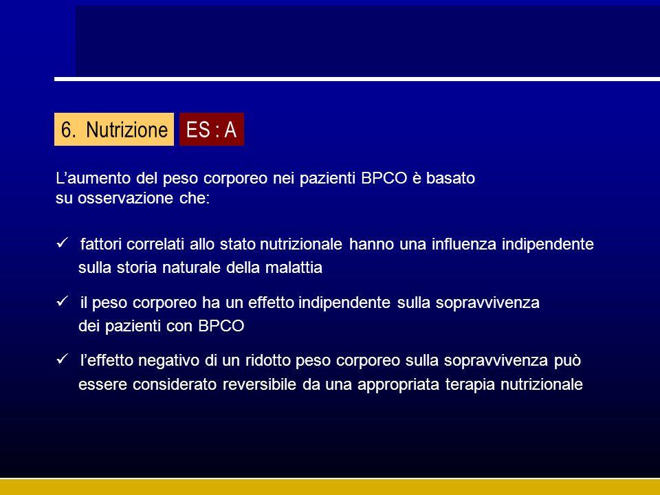 Laumento del peso corporeo nei pazienti BPCO è basato su osservazione che: fattori correlati allo stato nutrizionale hanno una influenza indipendente