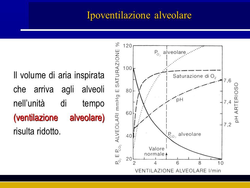 Ipoventilazione alveolare Il volume di aria inspirata che arriva agli alveoli nellunità di tempo (ventilazione alveolare) risulta ridotto.