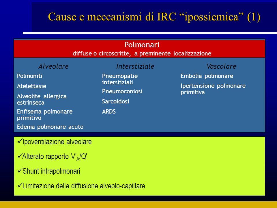 Cause e meccanismi di IRC ipossiemica (2) Non polmonari In grado di indurre grave compromissione funzionale respiratoria Sindromi da grave insufficienza di organi o apparati (shock, insufficienza epatica, sindrome uremica) Sepsi, peritoniti, pancreatiti acute Stati post-traumatici e post-chirurgici extratoracici e post-bypass cardiopolmonare Ipoventilazione totale Ridotta FIO 2 Ridotta gittata cardiaca Aumentato consumo di O 2 Ridotta concentrazione di Hb