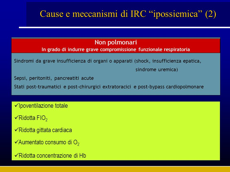 Cause di IRC ipercapnica (1) Malattie delle vie aeree (con broncostenosi) Malattie del parenchima polmonare Malattie vascolari polmonari Malattie della pleura Polmonari Acute Epiglottite Edema laringeo Corpi estranei Tumori tracheali Bronchioliti Asma bronchiale (male asmatico) Croniche Bronchite cronica Bronchiectasie Acute Reazioni immunologiche Polmonite infettive o ab ingestis (in BPCO) Croniche Enfisema polmonare (in fase avanzata) Pneumopatie interstiziali Pneumoconiosi Sarcoidosi Acute Embolia polmonare massiva Congestione venosa polmonare Croniche Microembolie ricorrenti Vasculiti Acute Pneumotorace massivo Croniche Fibrotorace post-pleuritico