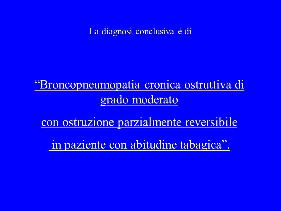 La diagnosi conclusiva è di Broncopneumopatia cronica ostruttiva di grado moderato con ostruzione parzialmente reversibile in paziente con abitudine t
