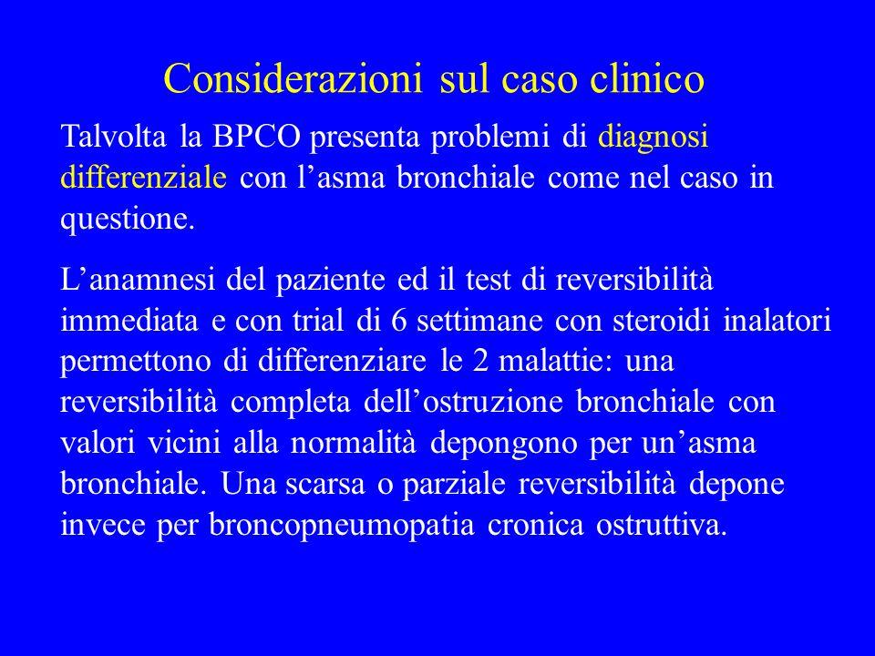 Considerazioni sul caso clinico Talvolta la BPCO presenta problemi di diagnosi differenziale con lasma bronchiale come nel caso in questione. Lanamnes
