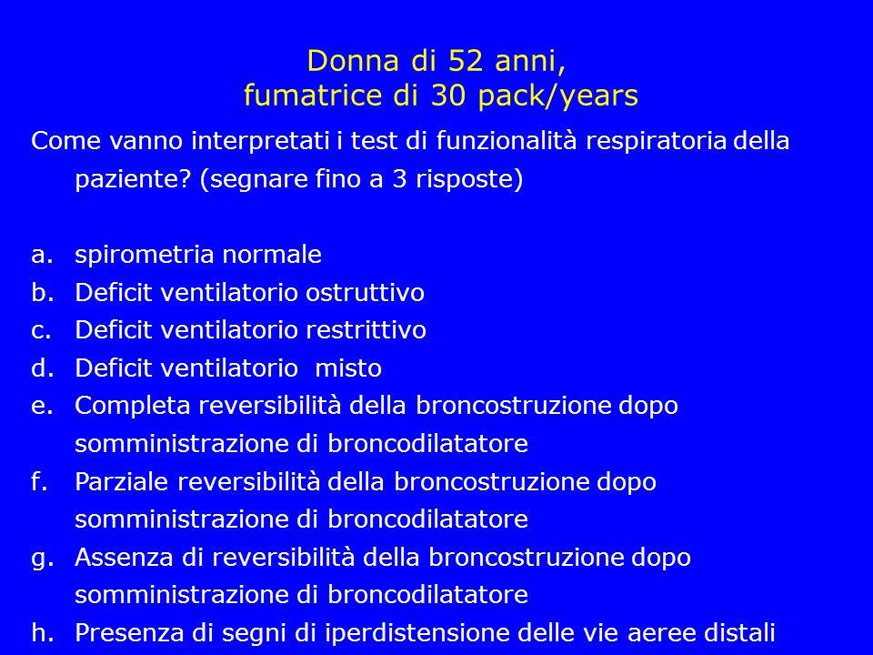 Emogasanalisi arteriosa ParametroValore PaO2 (mmHg)58 PaCO2 (mmHg) 48 pH7,38 HCO3-31 BE-0,2
