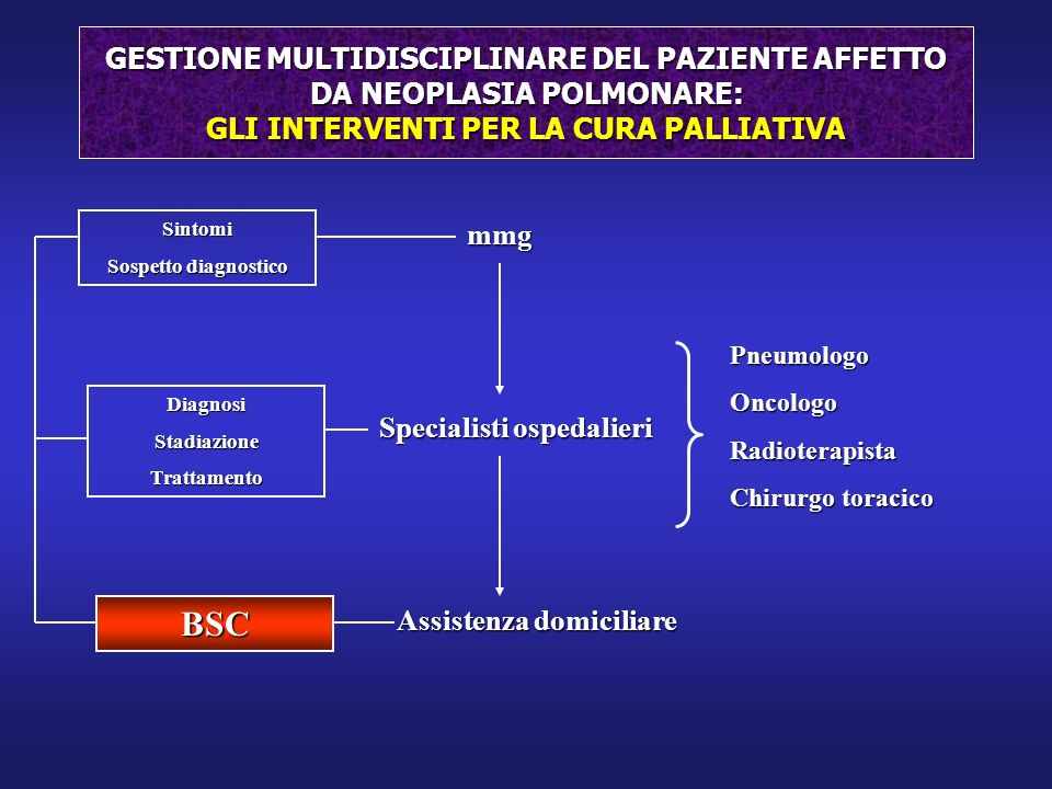 GESTIONE MULTIDISCIPLINARE DEL PAZIENTE AFFETTO DA NEOPLASIA POLMONARE: GLI INTERVENTI PER LA CURA PALLIATIVA mmg Specialisti ospedalieri Assistenza d