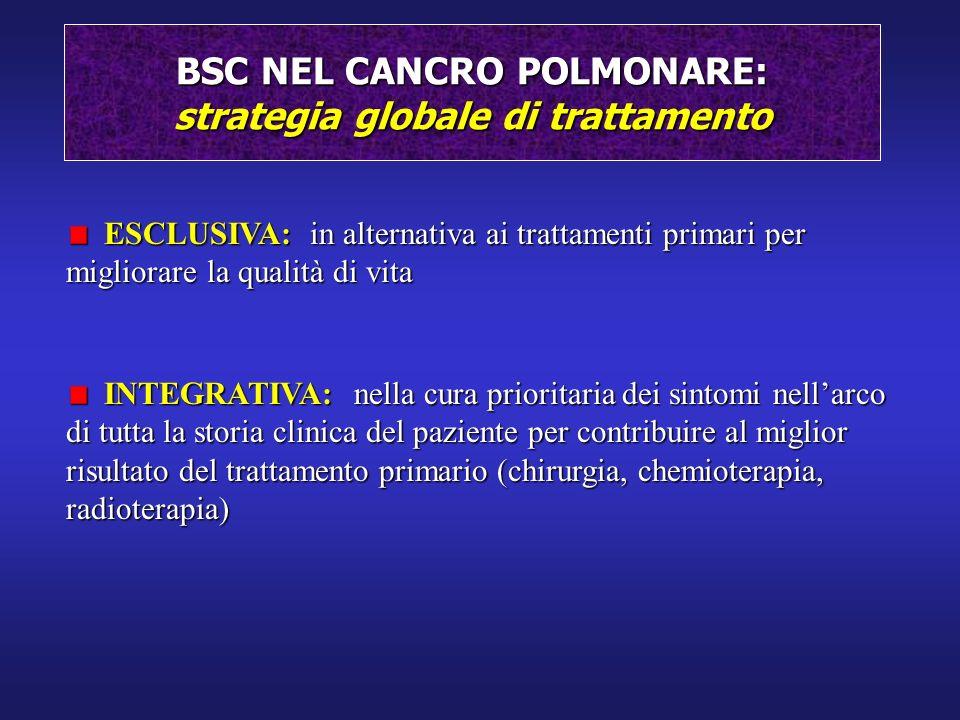 BSC NEL CANCRO POLMONARE: strategia globale di trattamento ESCLUSIVA: in alternativa ai trattamenti primari per migliorare la qualità di vita ESCLUSIV