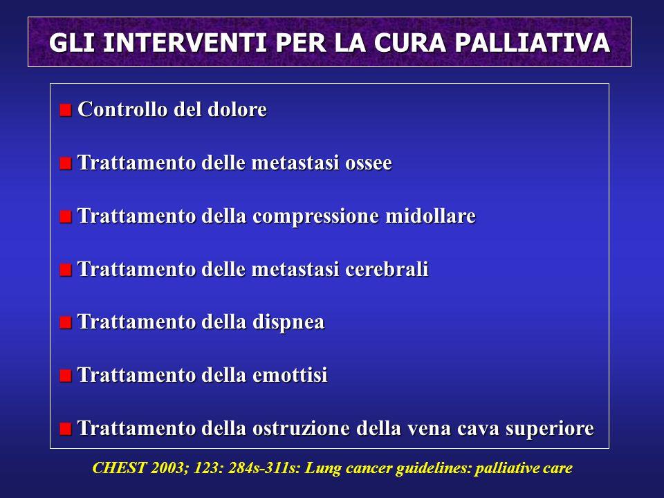 GLI INTERVENTI PER LA CURA PALLIATIVA Controllo del dolore Controllo del dolore Trattamento delle metastasi ossee Trattamento delle metastasi ossee Tr