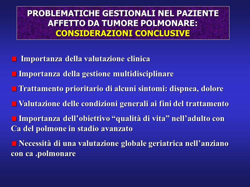 Importanza della valutazione clinica Importanza della valutazione clinica Importanza della gestione multidisciplinare Importanza della gestione multid