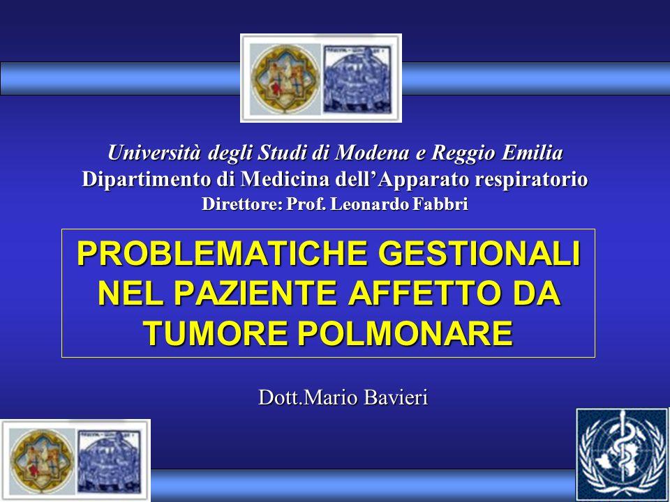 Università degli Studi di Modena e Reggio Emilia Dipartimento di Medicina dellApparato respiratorio Direttore: Prof. Leonardo Fabbri PROBLEMATICHE GES