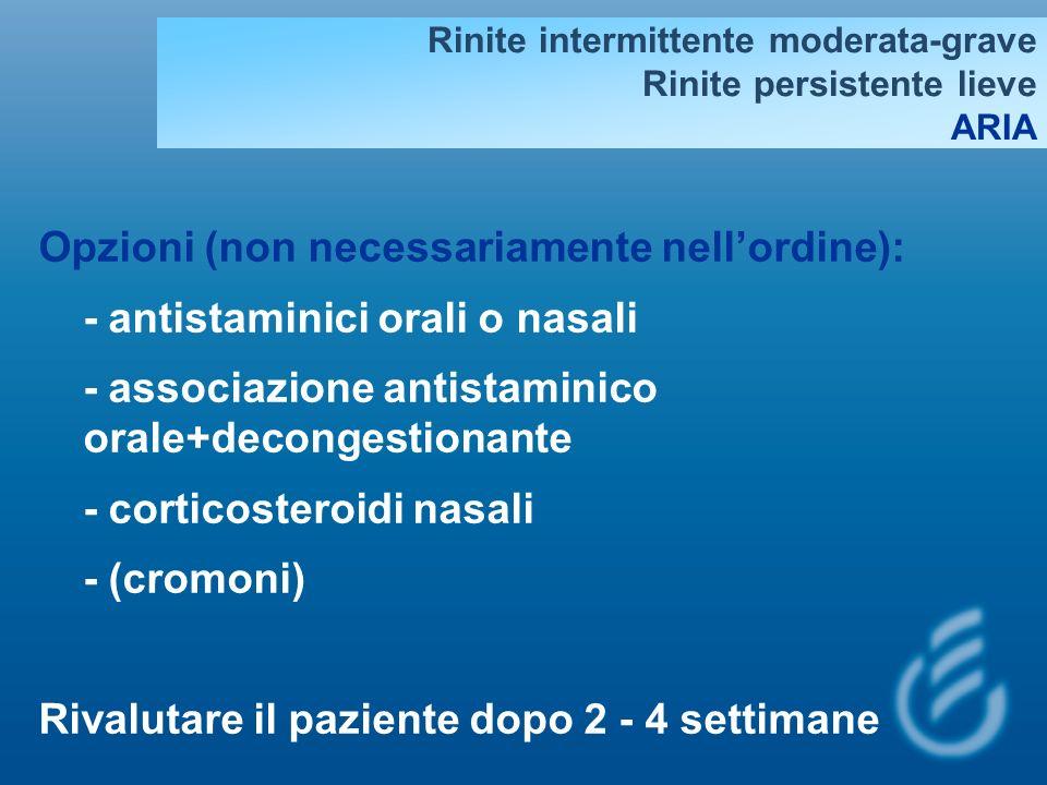 STEP 1: RINITE LIEVE INTERMITTENTE Scelta opzionale fra: - Antistaminici orali o intranasali - Decongestionanti nasali (per meno di 10 giorni, da non ripetere piu di 2 volte/mese) - Decongestionanti orali (non nei bambini) I farmaci per la Rinite