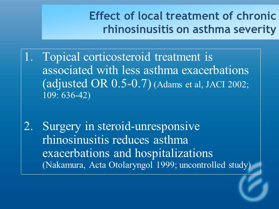 Risk factors of frequent ( 3) exacerbations in severe asthma Adjusted OR 95% CI Psychopathology 10.8 (11.7)1.1-108.4 Rec. respiratory infections6.91.9