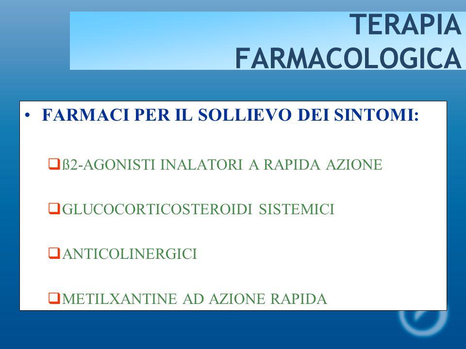 TRATTAMENTO FARMACOLOGICO FARMACI PER IL CONTROLLO DELLASMA: GLUCOCORTICOSTEROIDI INALATORI ß-AGONISTI A LUNGA DURATA DAZIONE ANTAGONISTI RECETTORIALI DEI LEUCOTRIENI GLUCOCORTICOSTEROIDI ORALI METILXANTINE A LENTO RILASCIO CROMONI