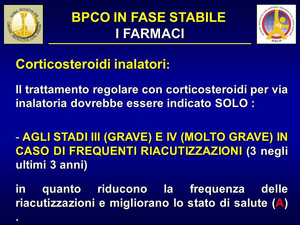 Corticosteroidi inalatori : Il trattamento regolare con corticosteroidi per via inalatoria dovrebbe essere indicato SOLO : - AGLI STADI III (GRAVE) E