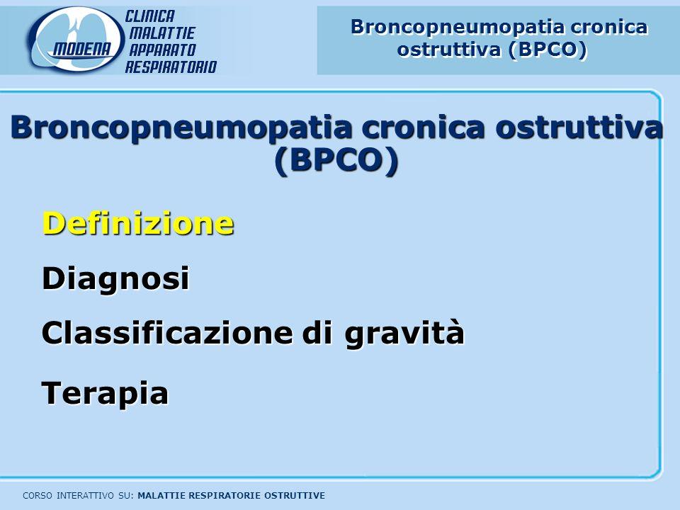 Broncopneumopatia cronica ostruttiva (BPCO) CORSO INTERATTIVO SU: MALATTIE RESPIRATORIE OSTRUTTIVE DefinizioneDiagnosi Classificazione di gravità Tera