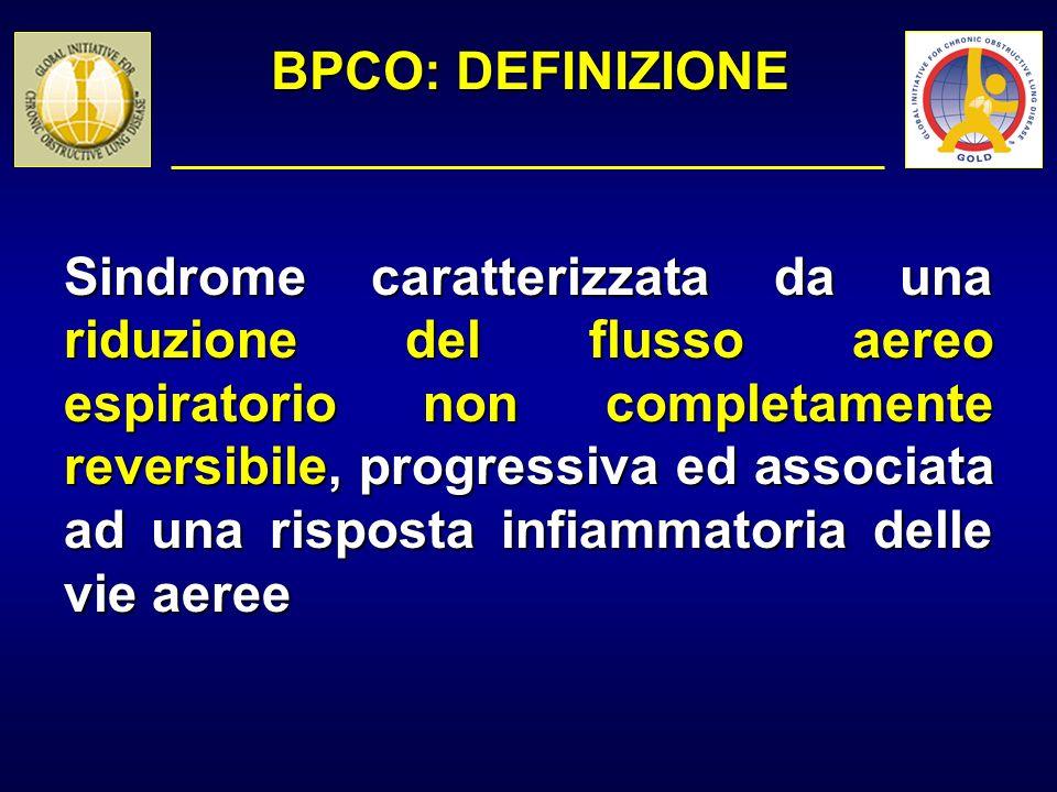 BPCO: DIAGNOSI PUNTI CHIAVE Diagnosi differenziale: BPCOASMA Età insorgenza Di solito > 50 anni Di solito nellinfanzia FumoPresente o pregresso Indifferente SintomiCronici, progressivi Variabili, episodici AtopiaIndifferenteDi solito presente
