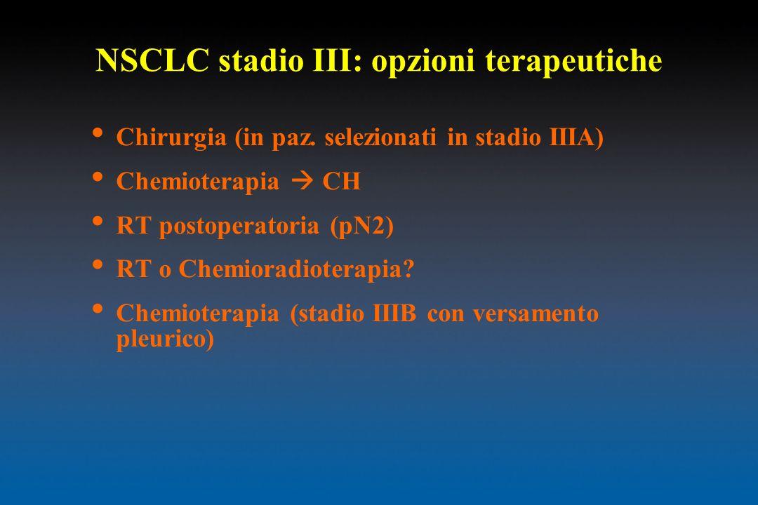NSCLC stadio III: opzioni terapeutiche Chirurgia (in paz. selezionati in stadio IIIA) Chemioterapia CH RT postoperatoria (pN2) RT o Chemioradioterapia