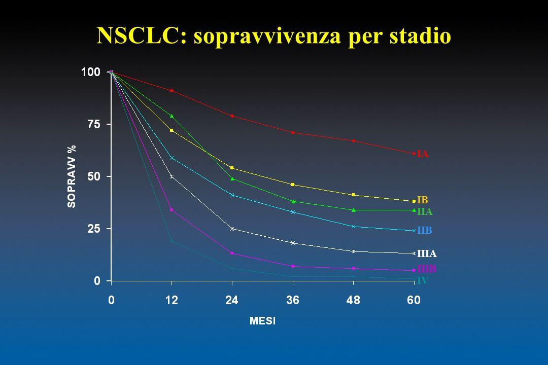 NSCLC: sopravvivenza per stadio IA IB IIA IIB IIIA IIIB IV