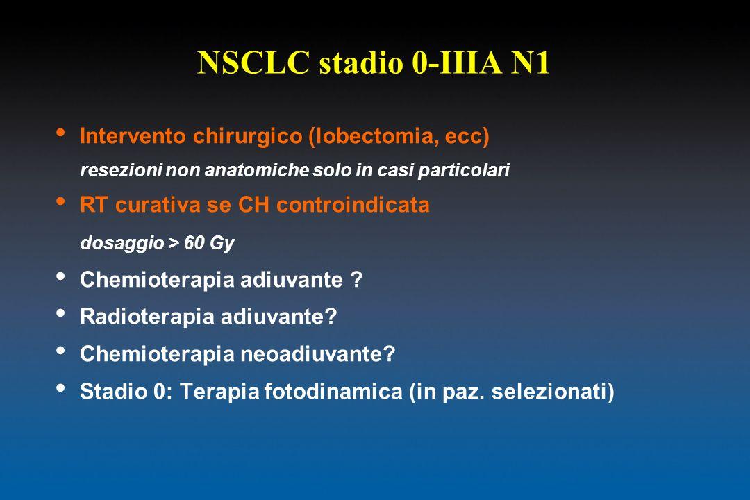 NSCLC stadio 0-IIIA N1 Intervento chirurgico (lobectomia, ecc) resezioni non anatomiche solo in casi particolari RT curativa se CH controindicata dosa