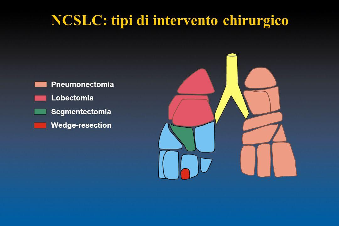 Pneumonectomia Lobectomia Segmentectomia Wedge-resection NCSLC: tipi di intervento chirurgico