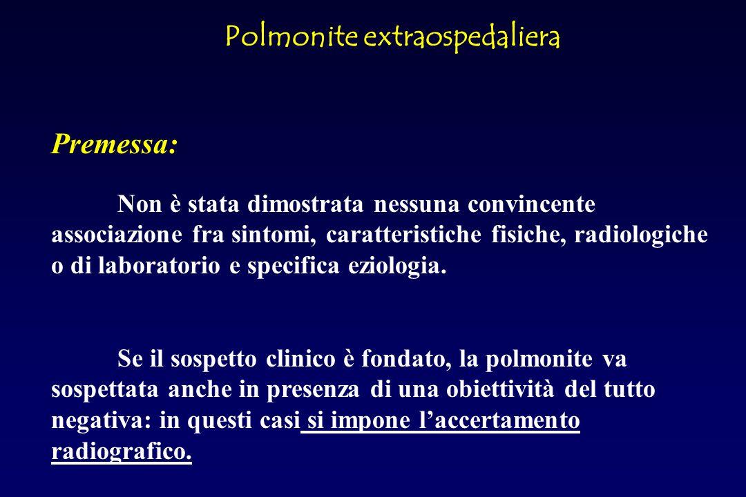 Polmonite extraospedaliera SINTOMI e SEGNI