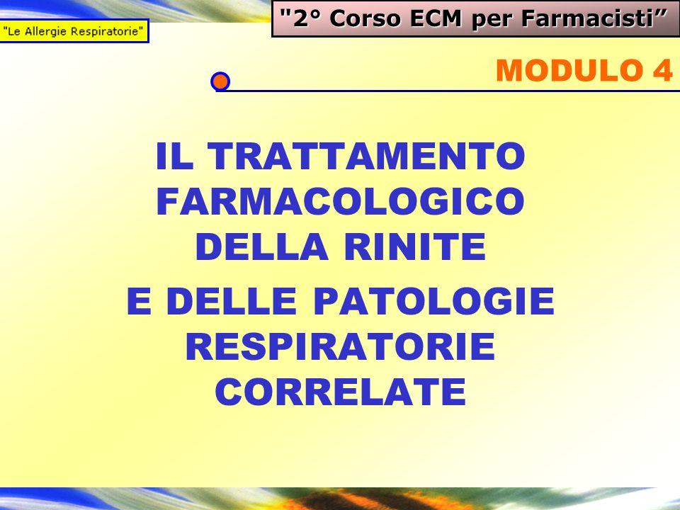I farmaci per la Rinite MODULO 4 IL TRATTAMENTO FARMACOLOGICO DELLA RINITE E DELLE PATOLOGIE RESPIRATORIE CORRELATE 2° Corso ECM per Farmacisti