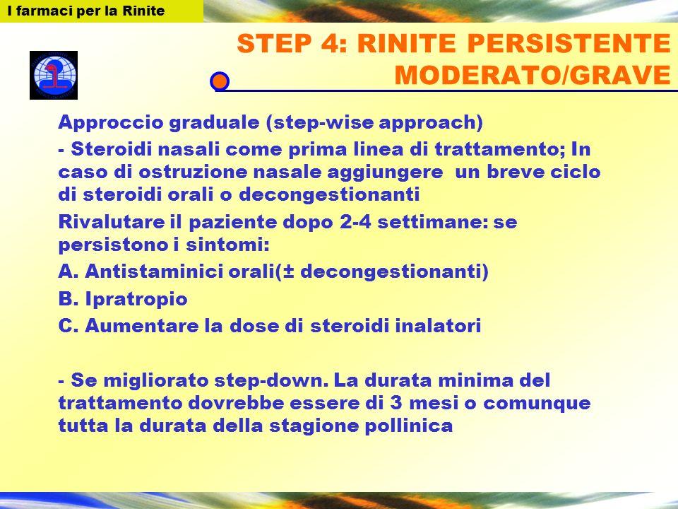 STEP 4: RINITE PERSISTENTE MODERATO/GRAVE Approccio graduale (step-wise approach) - Steroidi nasali come prima linea di trattamento; In caso di ostruz