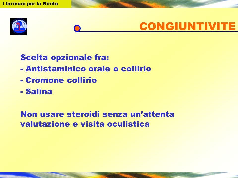 CONGIUNTIVITE Scelta opzionale fra: - Antistaminico orale o collirio - Cromone collirio - Salina Non usare steroidi senza unattenta valutazione e visi