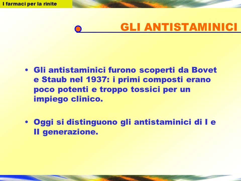 GLI ANTISTAMINICI Gli antistaminici furono scoperti da Bovet e Staub nel 1937: i primi composti erano poco potenti e troppo tossici per un impiego clinico.