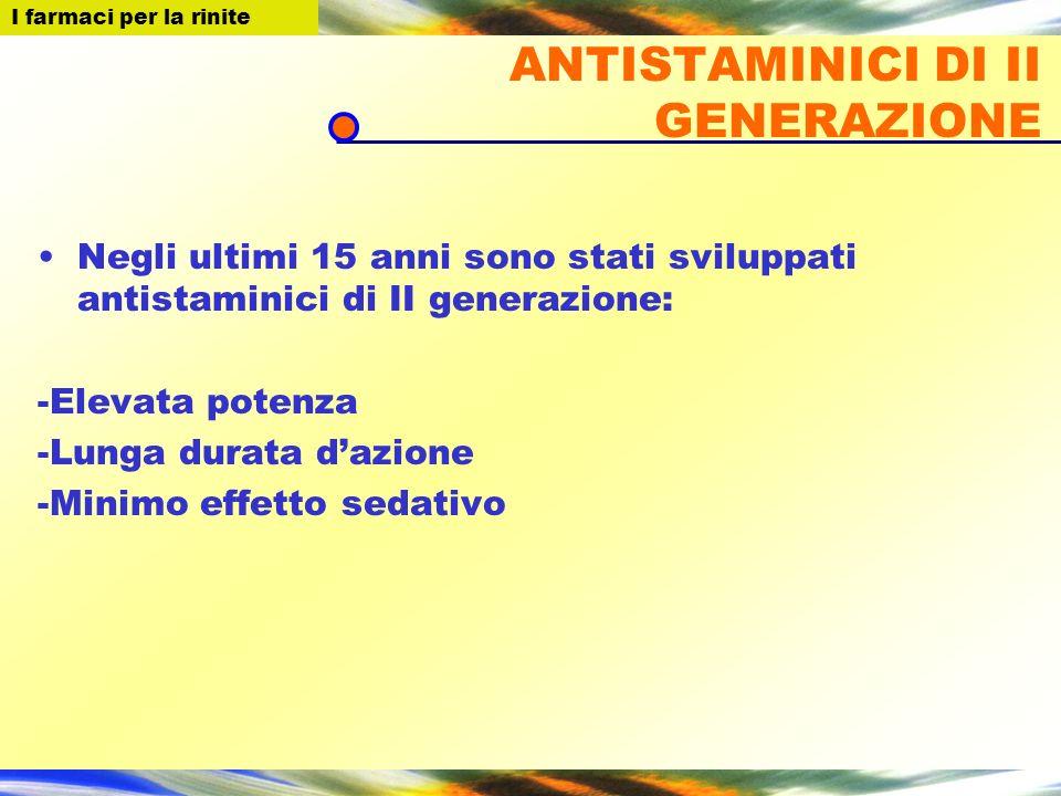 I farmaci per la Rinite ANTISTAMINICI DI II GENERAZIONE Negli ultimi 15 anni sono stati sviluppati antistaminici di II generazione: -Elevata potenza -