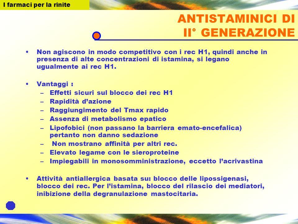 I farmaci per la Rinite ANTISTAMINICI DI II° GENERAZIONE Non agiscono in modo competitivo con i rec H1, quindi anche in presenza di alte concentrazion
