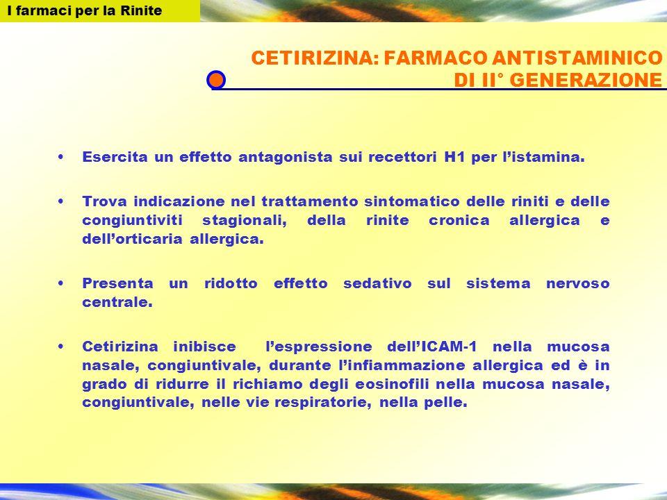I farmaci per la Rinite CETIRIZINA: FARMACO ANTISTAMINICO DI II° GENERAZIONE Esercita un effetto antagonista sui recettori H1 per listamina. Trova ind